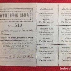 Coleccionismo deportivo: R13100 CARNET SOCIO ABONADO ATHLETIC CLUB BILBAO EDUARDO ARANA MENA 1921 ISIDRO ACEDO TESORERO. Lote 261262225