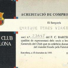 Coleccionismo deportivo: ACREDITACIÓ DE COMPROMISSARI. 1991. F. C. BARCELONA. 7X11 CM. BUEN ESTADO CON SIGNOS DE LA EDAD.. Lote 262402845