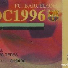 Coleccionismo deportivo: CARNET DE SOCIO 1996. F. C. BARCELONA. 5,5X8,5 CM. BUEN ESTADO CON SIGNOS DE LA EDAD.. Lote 262417955
