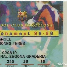 Coleccionismo deportivo: CARNET DE SOCIO 1995-96. ABONAMENT. F. C. BARCELONA. 5,5X8,5 CM. BUEN ESTADO CON SIGNOS DE LA EDAD.. Lote 262418130