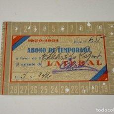 Coleccionismo deportivo: CLUB DE FUTBOL BARCELONA CARNET ABONO DE TEMPORADA , ASIENTO LATERAL 1950-1951. Lote 266117188