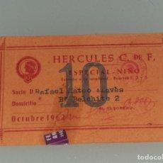 Coleccionismo deportivo: ANTIGUO ABONO CARNET DE SOCIO DEL HERCULES C.F ALICANTE 2ª DIVISION TEMPORADA 1962 NIÑO. Lote 268727744