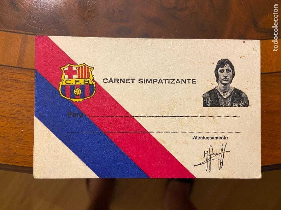 CARNET SIMPATIZANTE DE JOHAN CRUYFF SIN USO NUEVO (Coleccionismo Deportivo - Documentos de Deportes - Carnet de Socios)