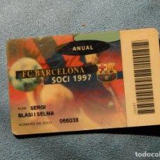 Coleccionismo deportivo: CARNET F.C.BARCELONA SOCI 1997 ANUAL. Lote 269051673