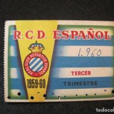 Coleccionismo deportivo: RCD ESPANYOL-R.C.D. ESPAÑOL-TERCER TIMESTRE 1959 60-CARNET SOCIO-VER FOTOS-(82.003). Lote 271421893