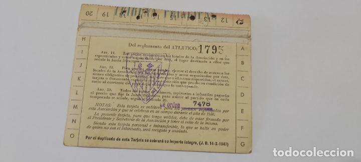 Coleccionismo deportivo: Tarjeta socio athetico bilbao 1956 tribuna principal - Foto 2 - 274422523