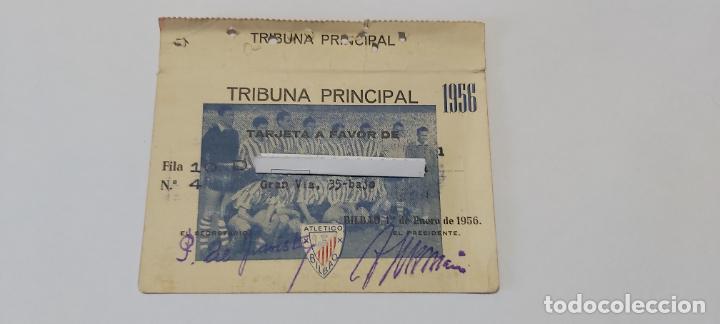 TARJETA SOCIO ATHETICO BILBAO 1956 TRIBUNA PRINCIPAL (Coleccionismo Deportivo - Documentos de Deportes - Carnet de Socios)