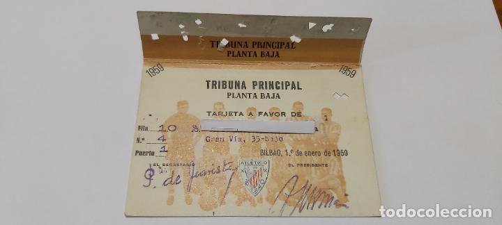 TARJETA SOCIO ATHETICO BILBAO 1959 TRIBUNA PRINCIPAL (Coleccionismo Deportivo - Documentos de Deportes - Carnet de Socios)