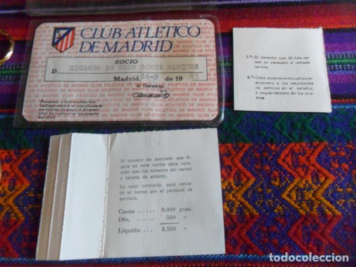 Coleccionismo deportivo: ATLÉTICO DE MADRID 1983 CARNET SOCIO RECIBO ANUAL DE ASOCIADO FUNDA PROTECTORA. REGALO LLAVERO. RARO - Foto 6 - 274847588