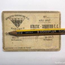 Coleccionismo deportivo: FÚTBOL CARNET ATHLETIC SAGUNTINO F.C., SAGUNTO, VALENCIA (A.1932). Lote 274943688