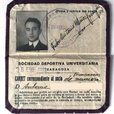 Collectionnisme sportif: ZARAGOZA 1923 / CARNET SOCIO FUNDADOR / SOCIEDAD DEPORTIVA UNIVERSITARIA. Lote 276199858