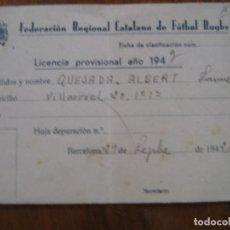 Coleccionismo deportivo: LICENCIA CARNET FEDERACION REGIONAL CATALANA DE FUTBOL RUGBY - 1942. Lote 277077888
