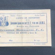 Coleccionismo deportivo: CARNET DE SOCIO DE LA JUVENTUD BISBALENSE 1940'S. LA BISBAL DEL PENEDÈS.. Lote 280144578