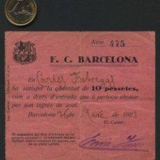 Collezionismo sportivo: FÚTBOL, TICKET ANTIGUO, DERECHOS DE ENTRADA, FÚTBOL CLUB BARCELONA, 1923. Lote 285554768