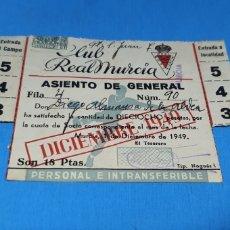 Coleccionismo deportivo: CARNET DE SOCIO CLUB REAL MURCIA 1949. Lote 286861438