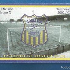 Collezionismo sportivo: CARNET FUTBOL SOCIO NUMERARIO TEMPORADA 2002-03 CORIA DEL RIO (SEVILLA). Lote 287063573
