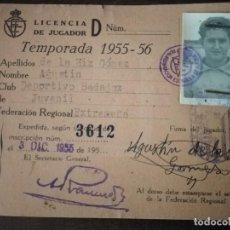 Coleccionismo deportivo: CLUB DEPORTIVO BADAJOZ. LICENCIA DE JUGADOR. TEMPORADA 1955/56.. Lote 291888223