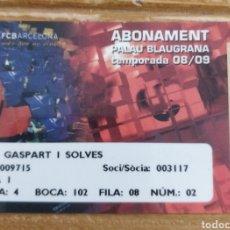 Colecionismo desportivo: CARNET EX PRESIDENTE FC BARCELONA JOAN GASPART PALAU BLAU GRANA 2008/09. Lote 293186198