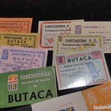 Colecionismo desportivo: LOTE DE 9 CANETS DE SOCIOS DE FUTBOL DEL CARTAGENA FINALES DE LOS 1970,S A 1980,S. Lote 293906238