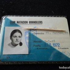 Coleccionismo deportivo: CARNET DE SOCIA NUMERARIA DEL CLUB NATACION GRANOLLERS, 1972. Lote 294019908