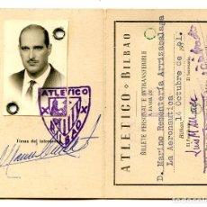 Coleccionismo deportivo: CARNET DE SOCIO DEL ATLÉTICO ATHLETIC DE BILBAO, 1961. Lote 294039913