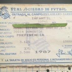 Coleccionismo deportivo: CARNET ABONO TARJETA DE SOCIO REAL SOCIEDAD DE FÚTBOL. Lote 295348433