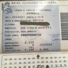 Coleccionismo deportivo: CARNET ABONO TARJETA DE SOCIO 1991 REAL SOCIEDAD DE FÚTBOL. Lote 295348793