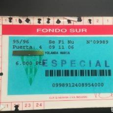 Colecionismo desportivo: CARNET ABONO CÓRDOBA CF TEMPORADA 1995 1996. Lote 295350218