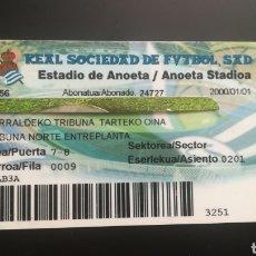 Coleccionismo deportivo: CARNET ABONO REAL SOCIEDAD DE FÚTBOL TEMPORADA 2000 2001. Lote 295366178