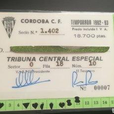 Colecionismo desportivo: CARNET ABONO CÓRDOBA CF TEMPORADA 1992 1993. Lote 295366983