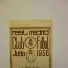 Coleccionismo deportivo: 2 CUPONES DE SOCIO REAL MADRID CLUB DE FUTBOL JUNIO-JULIO 1956 DEPORTES VINTAGE. Lote 295870218