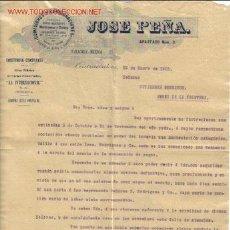 Cartas comerciais: CARTA COMERCIAL DE JOSE PEÑA-COMISIONES Y CONSIGNACIONES,CERVEZA MONTERREY,MOCTEZUMA Y TOLUCA. Lote 81115868