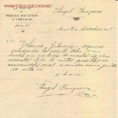 Cartas comerciales: CARTA COMERCIAL ANGEL YUNQUERA. LA CIERVA, TIENDA DE VINOS Y COMIDA. MADRID 1918. Lote 862184
