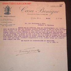 Cartas comerciales: CARTA COMERCIAL DE CASA BENIGNO.GIJON. Lote 7738647