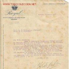 Cartas comerciales: CARTA COMERCIAL DE ROYAL - REVISTA MENSUAL DEL GRAN MUNDO - MADRID. Lote 9438442