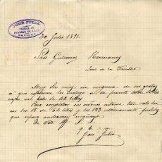 Cartas comerciales: SEVILLA. CARTA COMERCIAL DE JOSÉ JULIA. FÁBRICA DE ENVASES DE LATA. 30/07/1891. Lote 7843905