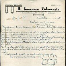 Cartas comerciales: LOGROÑO.CARTA COMERCIAL DE R. GUERRERO VIDAURRETA.AGENTE COMERCIAL COLEGIADO MATRICULADO. 18/11/1935. Lote 7918643