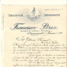 Cartas comerciales: ALBACETE-CARTA COMERCIAL DE TEJIDOS CONFECCIONES DE FRANCISCO PEREZ. . Lote 7999365
