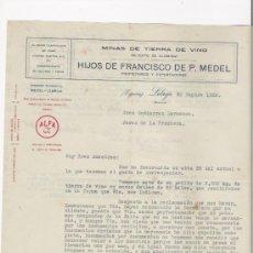 Cartas comerciales: LEBRIJA-CARTA COMERCIAL DE MINAS DE TIERRA DE VINO DE HIJOS DE FRANCISCO DE P.MEDEL.. Lote 7726795