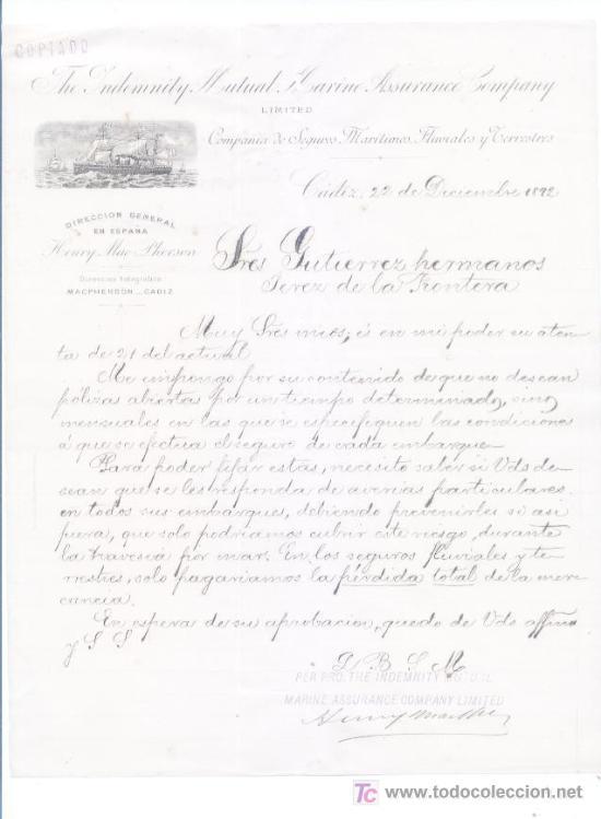 CADIZ 1892.COMPAÑIA DE SEGUROS MARITIMOS FLUVIALES Y TERRESTRES (Coleccionismo - Documentos - Cartas Comerciales)