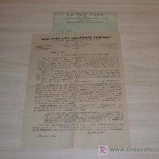 Cartas comerciales: LA NEW YORK COMPAÑIA DE SEGUROS SOBRE LA VIDA PASEO COLON 11 12 BARCELONA 1918. Lote 7705957