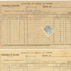 Cartas comerciales: FERROCARRILES DE MALLORCA CUATRO DOCUMENTOS DE EXTRACTO DE CARTAS DE PORTES. Lote 22652978