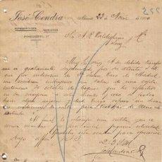 Cartas comerciales: ALICANTE. 1900. CARTA COMERCIAL DE JOSE CENDRA.. Lote 8277610
