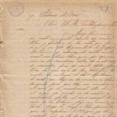 Cartas comerciales: SEVILLA. 1900. CARTA COMERCIAL DE VINOS Y AGUARDIENTES. ANGEL VILLEGAS.. Lote 8481901