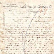 Cartas comerciales: ALICANTE. 1900. CARTA COMERCIAL DE TALLERES DE TONELERIA. ASENSI TABOADA.. Lote 8277615