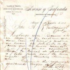 Cartas comerciales: ALICANTE. 1900. CARTA COMERCIAL DE TALLERES DE TONELERIA. ASENSI TABOADA.. Lote 8277626