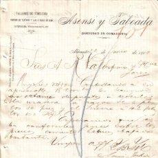 Cartas comerciales: ALICANTE. 1900. CARTA COMERCIAL DE TALLERES DE TONELERIA. ASENSI TABOADA.. Lote 14278453