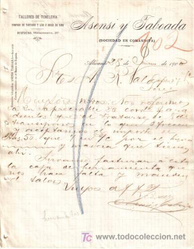 ALICANTE. 1900. CARTA COMERCIAL DE TALLERES DE TONELERIA. ASENSI TABOADA. (Coleccionismo - Documentos - Cartas Comerciales)