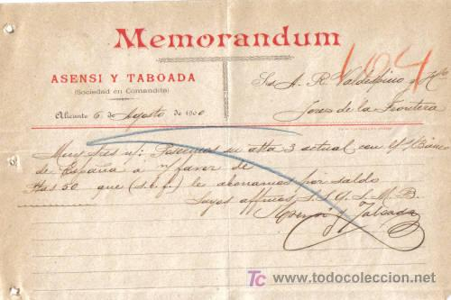 ALICANTE. 1900. CARTA COMERCIAL DE MEMORANDUM. ASENSI TABOADA. (Coleccionismo - Documentos - Cartas Comerciales)
