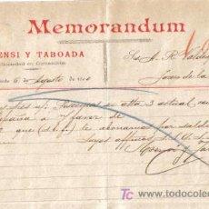 Cartas comerciales: ALICANTE. 1900. CARTA COMERCIAL DE MEMORANDUM. ASENSI TABOADA.. Lote 8277629